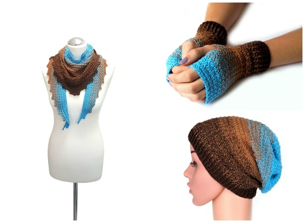 product picture Money Saver! Crochet pattern for cuffs, triangle scarf, scarf and the beanie-loop (all sizes) by LeaLeem at http://thepatternfactory.net