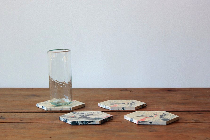 HILDA HELLSTRÖM JESMONITE SEDIMENTATION COASTERS, SET OF FOUR