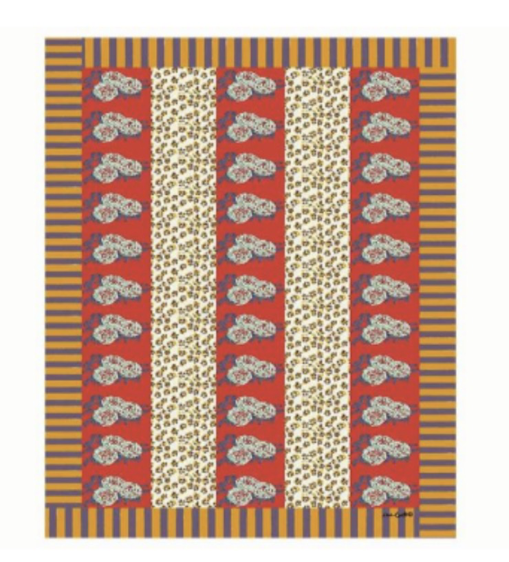 Lisa Corti Tablecloth, Leopard Stripes Rust