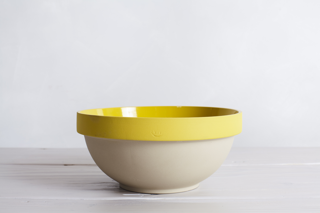 One Yellow Manufacture De Digoin Paris No.14 Mixing Bowl.
