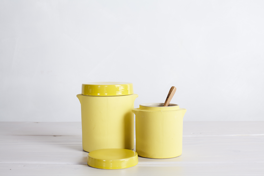 MANUFACTURE DE DIGOIN PRESERVE JAR No.20, YELLOW SMALL