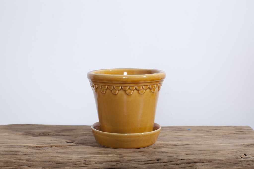 One Medium Bergs Potter Copenhagen Saffron Glazed Planter with Saucer.