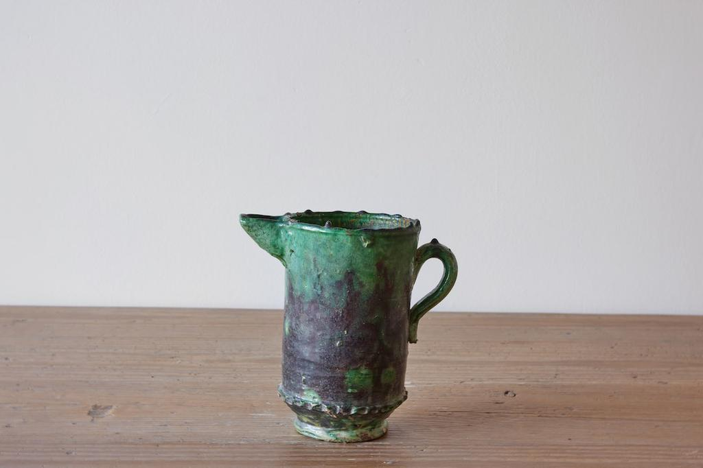 Moroccan Ceramic Pitcher, Green