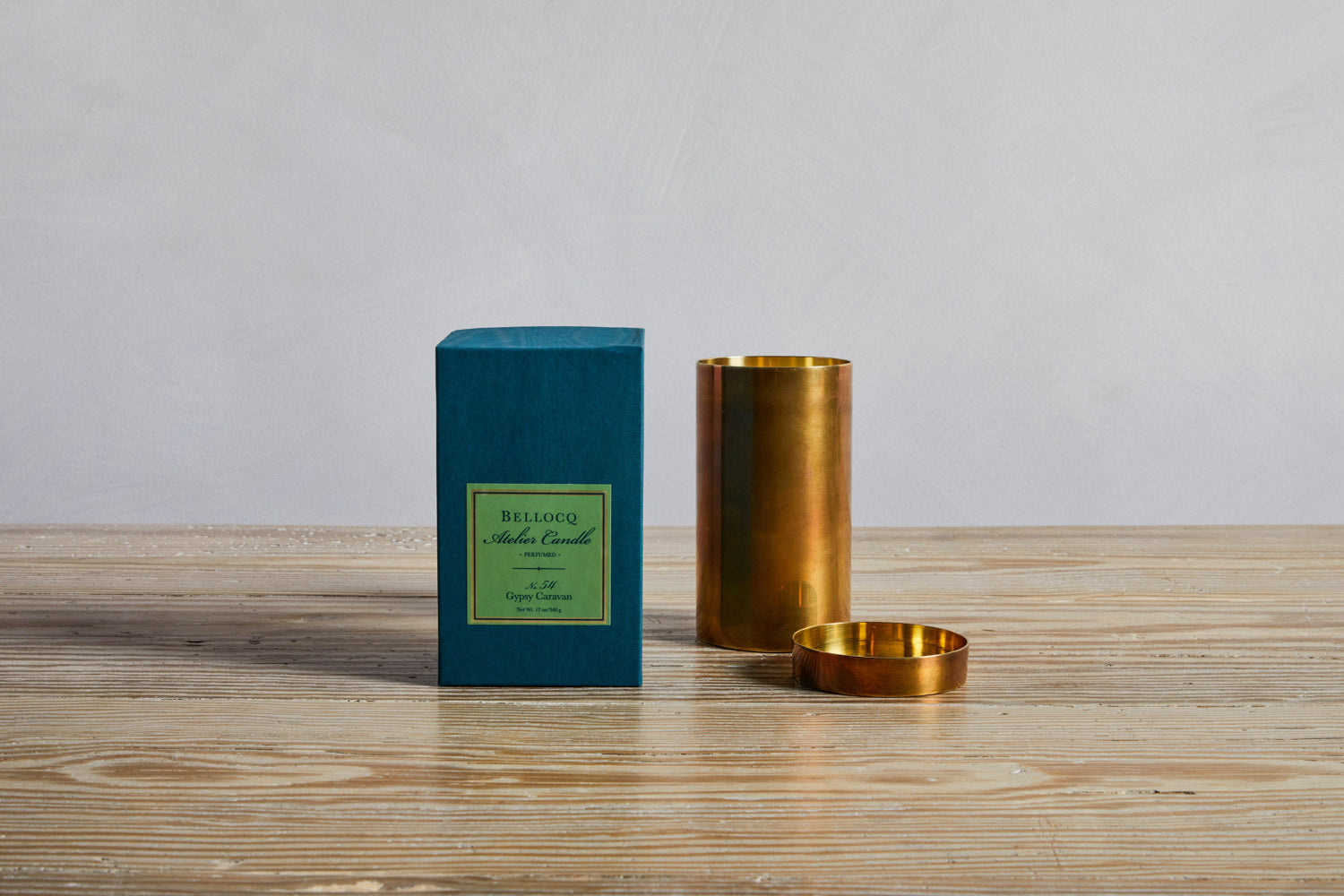 One Bellocq Atelier Gypsy Caravan Candle and box.