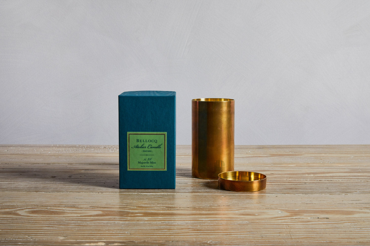 One Bellocq Atelier Majorelle Mint Candle and box.