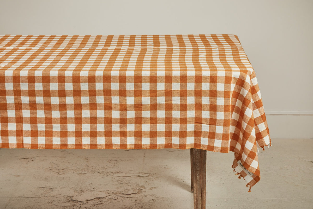 Heather Taylor Home Gingham Tablecloth, Goldenrod
