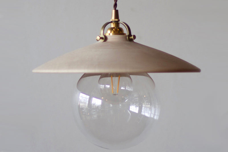 One Lostine Hand Turned Clear Maple Edmund Pendant Light.