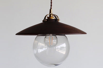One Lostine Hand Turned Walnut Edmund Pendant Light.