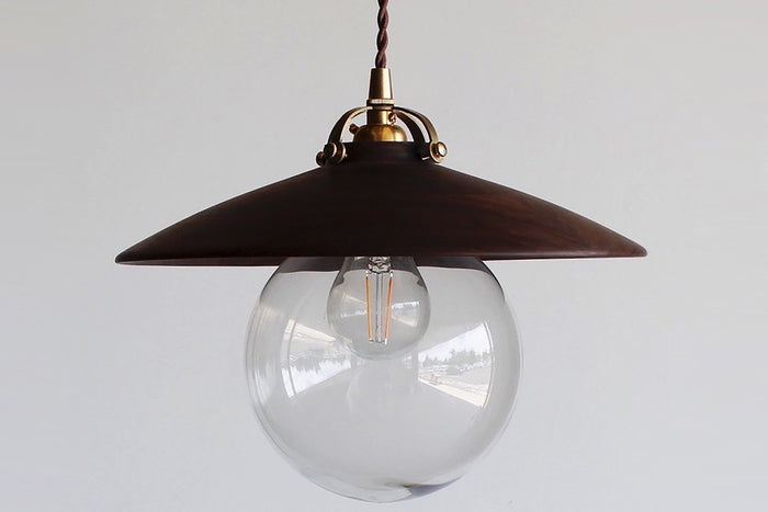 HAND TURNED WALNUT EDMUND PENDANT LIGHT