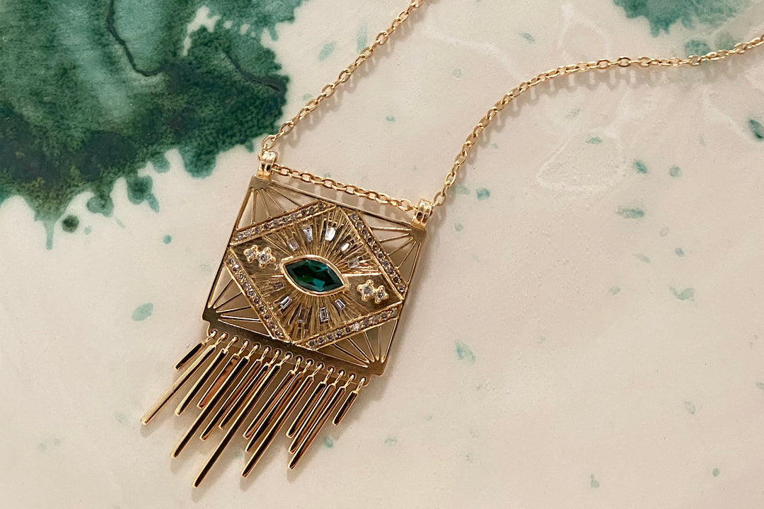 Celine D'Aoust Tourmaline Eye and White Diamond Necklace