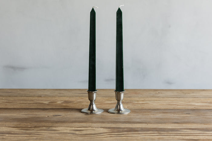 MATCH PEWTER PAIR SHORT CANDLESTICKS