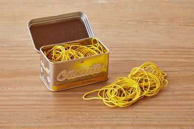 Natural Rubber Bands in Tin, Yellow