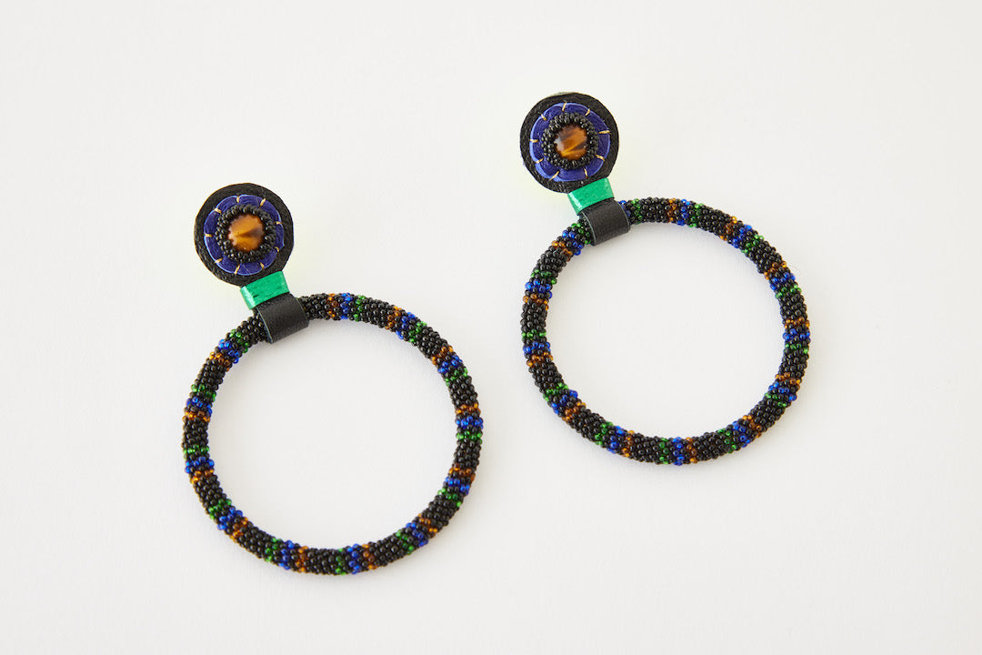 Robin Mollicone Large Hoops, Multi Stripe Tiger Eye