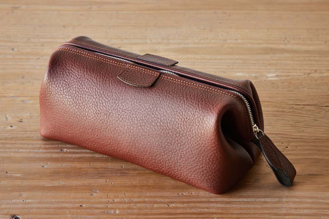 F. Hammann Tobacco Leather Toiletry Bag, Large