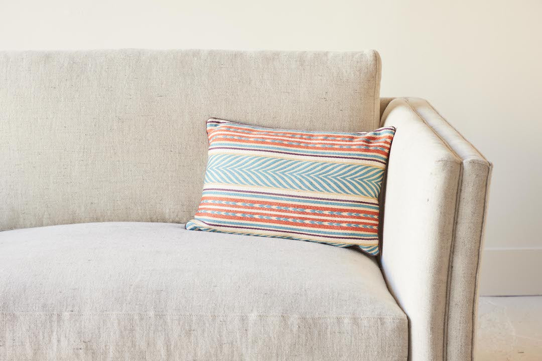 Nickey Kehoe Collection Pillow, Susan Deliss Aztec Blue, Copper & Eggplant (2 Sizes)