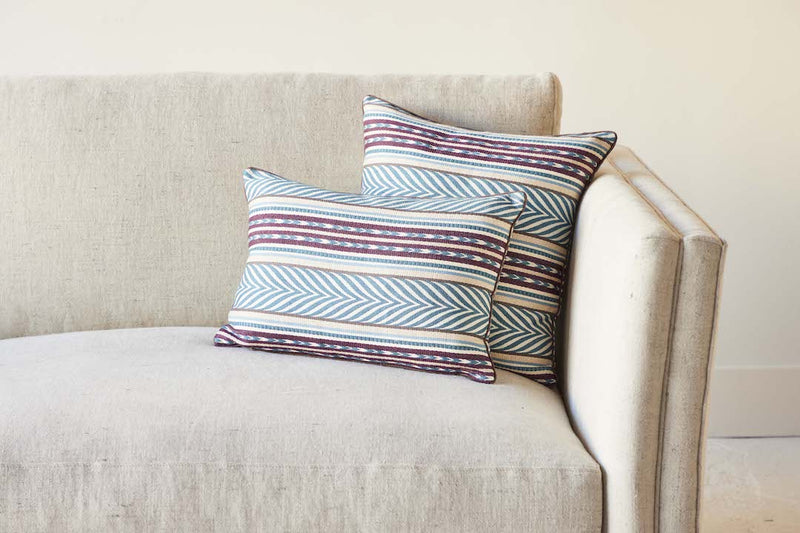 Nickey Kehoe Collection Pillow, Susan Deliss Aztec Blue, Cream and Eggplant (2 Sizes)
