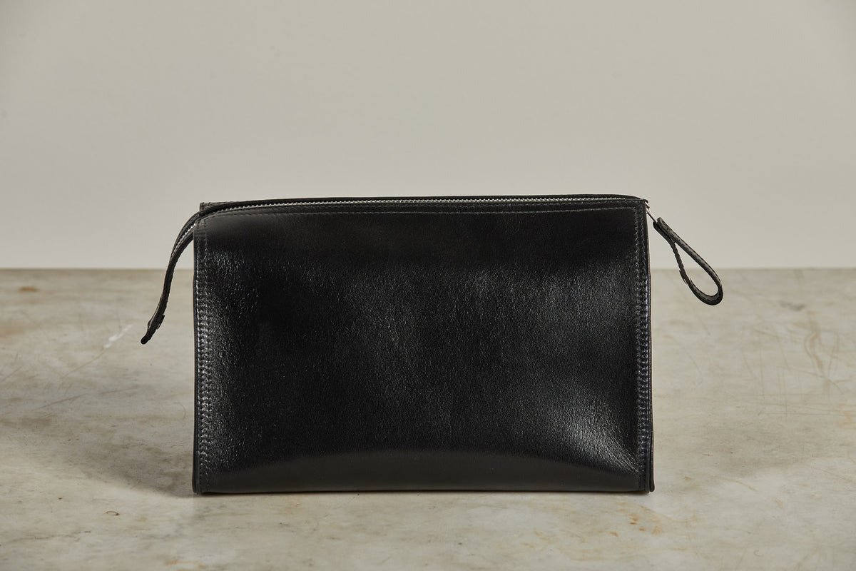 F. Hammann Black Leather Toiletry Bag