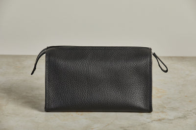 F. Hammann Pebbled Black Leather Toiletry Bag