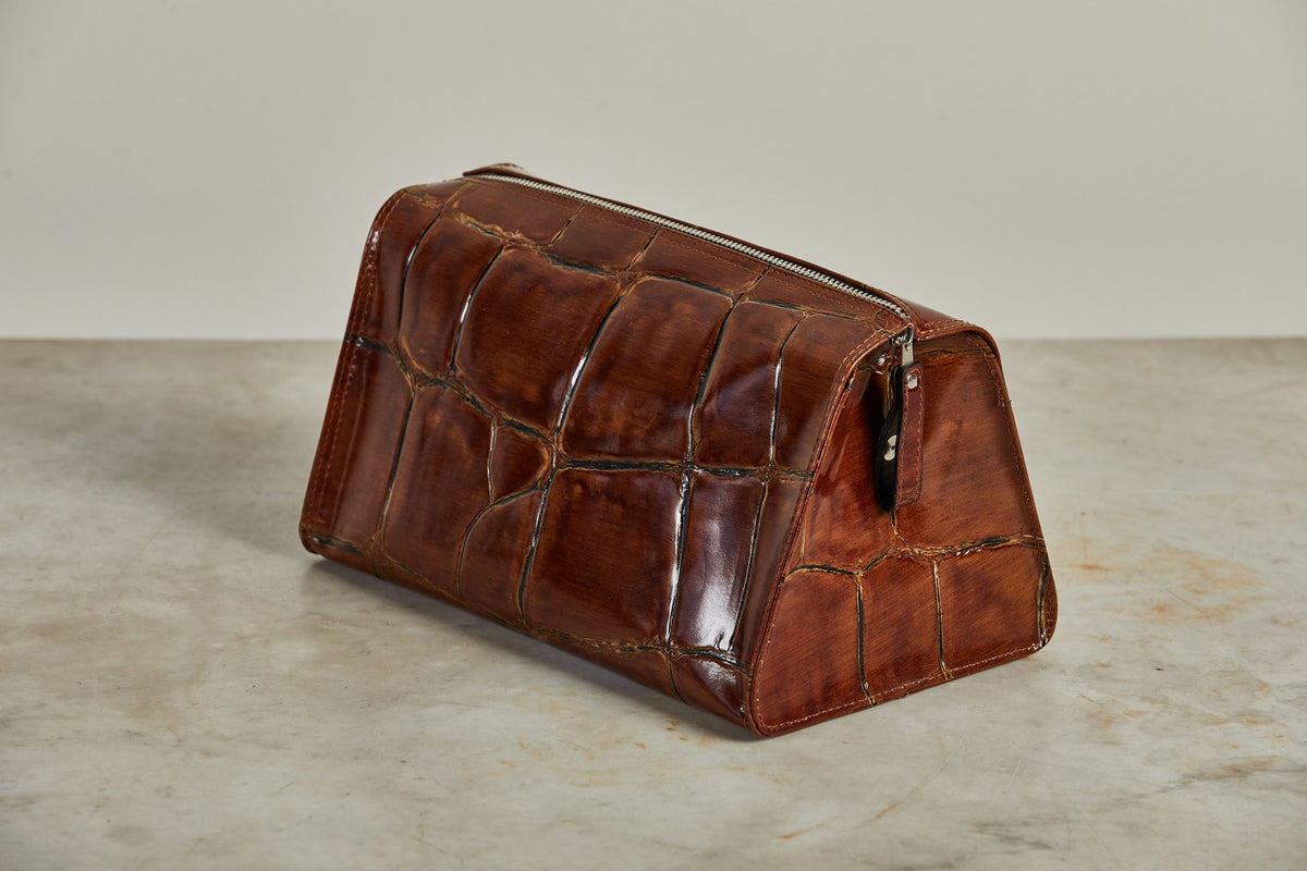 F. Hammann Maxicroco Brown Toiletry Bag