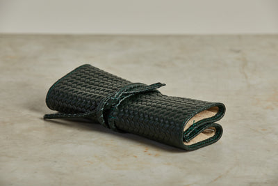 F. Hammann Leather Jewelry Roll, Woven Green