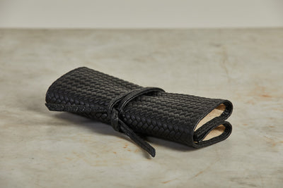 F. Hammann Leather Jewelry Roll, Woven Black
