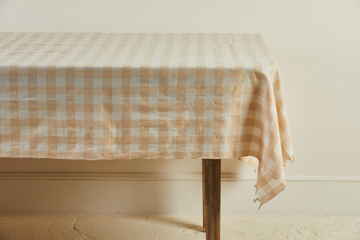 Heather Taylor Home Gingham Tablecloth, Cream