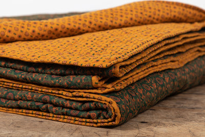 Nickey Kehoe Quilt, Gold And Hunter Green