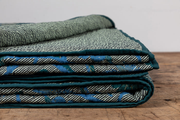 NICKEY KEHOE QUILT, BLUE AND GREEN