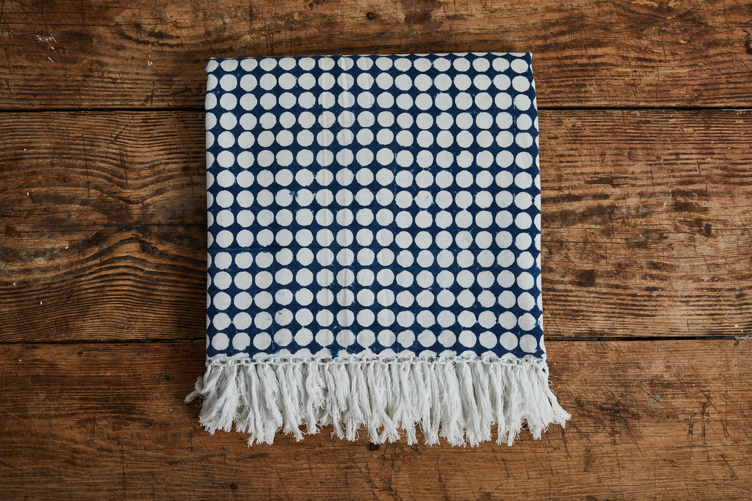 LES INDIENNES TANIA REVERSE BED THROW WITH FRINGE, INDIGO