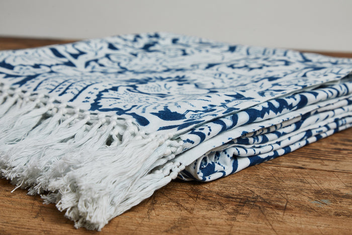 LES INDIENNES LISETTE BED THROW WITH FRINGE, INDIGO
