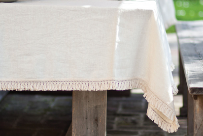 Once Milano Cream Fringe Linen Tablecloth, 2 Sizes
