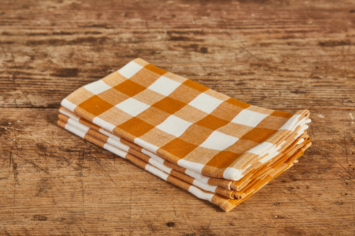 Heather Taylor Home Gingham Napkin, Goldenrod