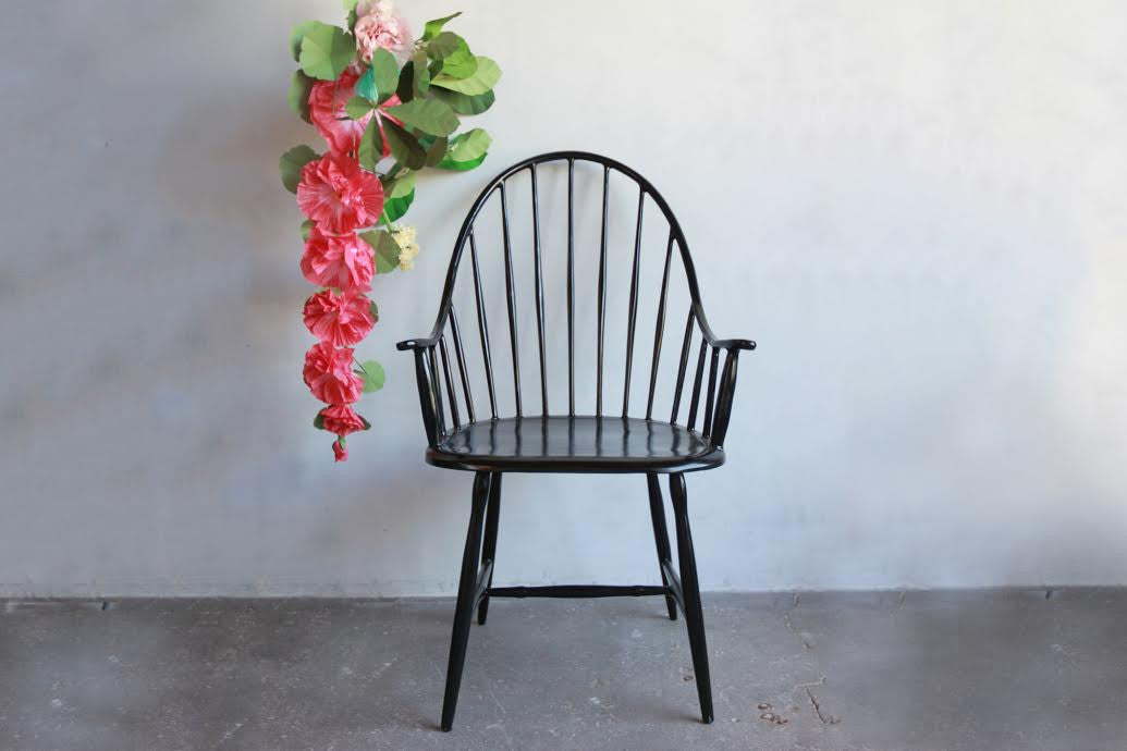 One Nickey Kehoe Black Metal Windsor Chair.