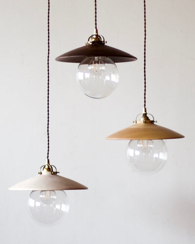 Three Lostine Hand Turned Clear Maple Edmund Pendant Lights.