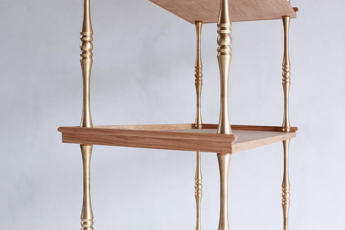 NICKEY KEHOE TURNED BRASS ETAGERE