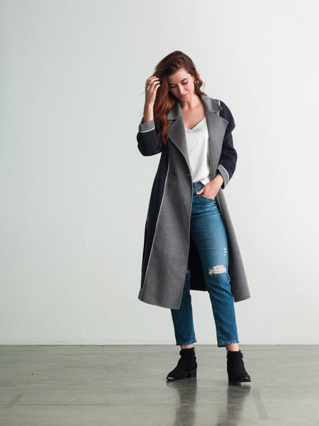 Gray / Navy Wool Cashmere Coat