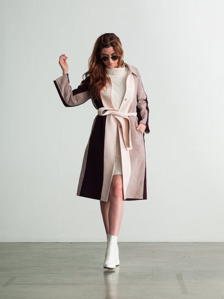 Color Panel Wool-Cashmere Coat