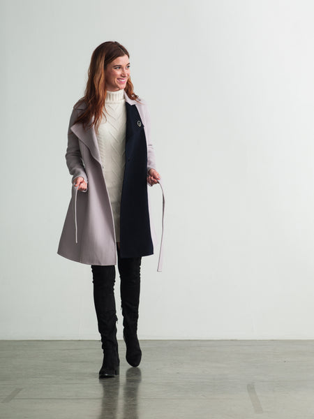 Lavendar Gray / Navy Wool-Cashmere Trench Coat