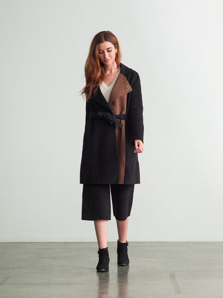 Brown / Black Wool-Cashmere Trench Coat