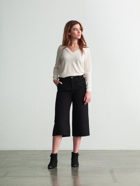3/4 Length Wide Leg Wool-Cashmere Pants