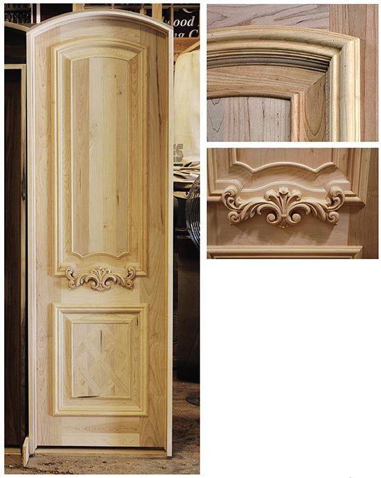 Custom Interior Door (one Of Thirty Units For A Job) Features A Parquet  Lower Panel And Custom Woodcarvings Designed For Each Door.