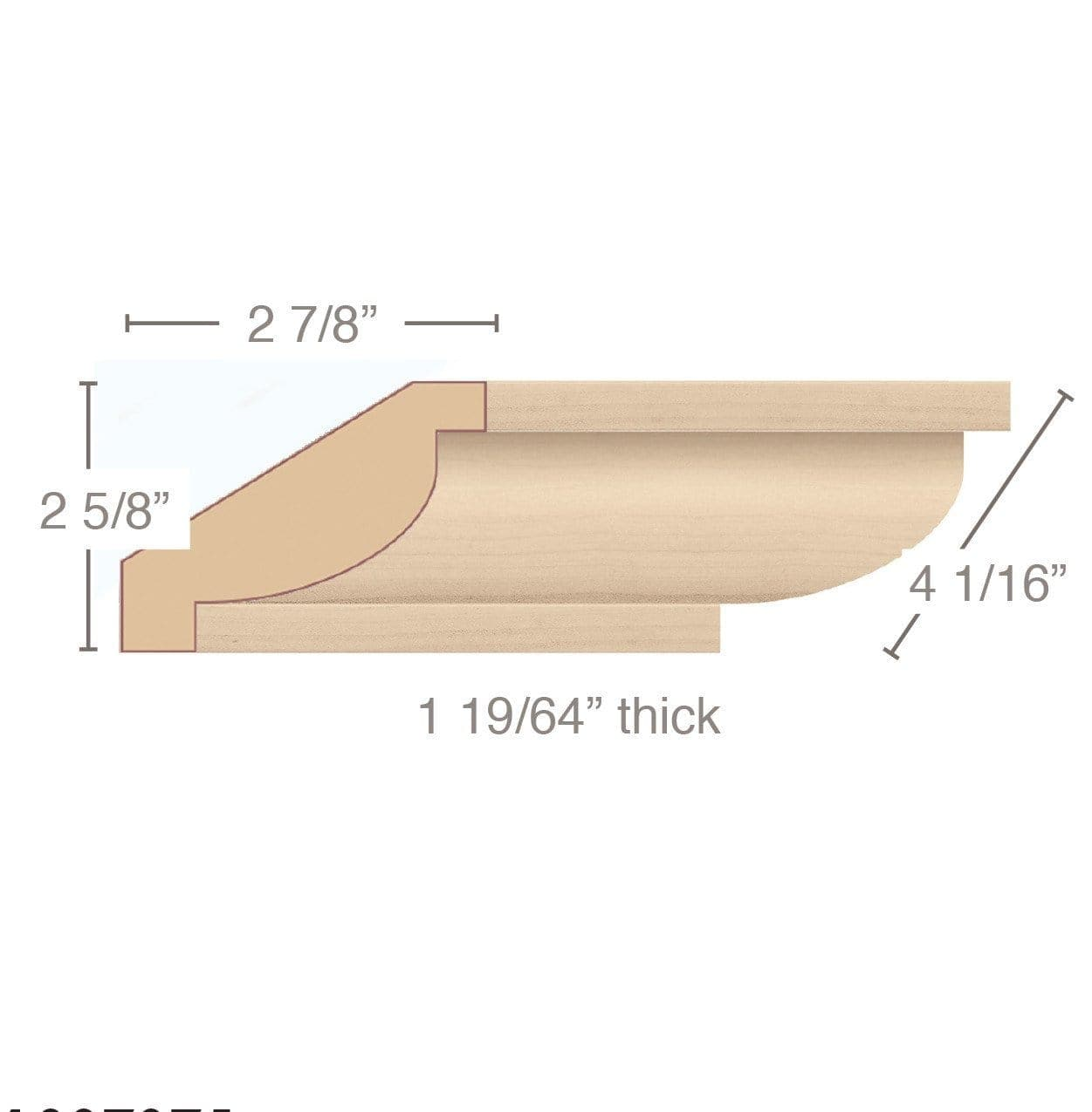 "Revival Simple Crown Moulding, 4 1/16""w x 1 19/64""d x 8' length"