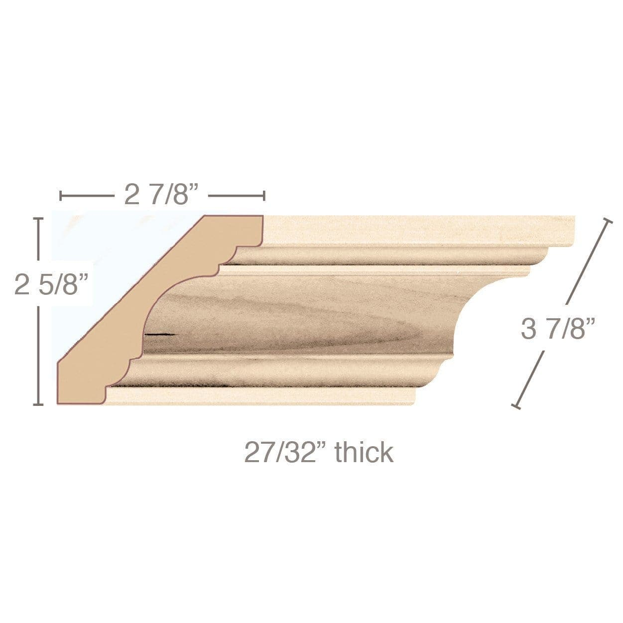"Revival Crown Moulding , 3 7/8""w x 27/32""d x 8' length"