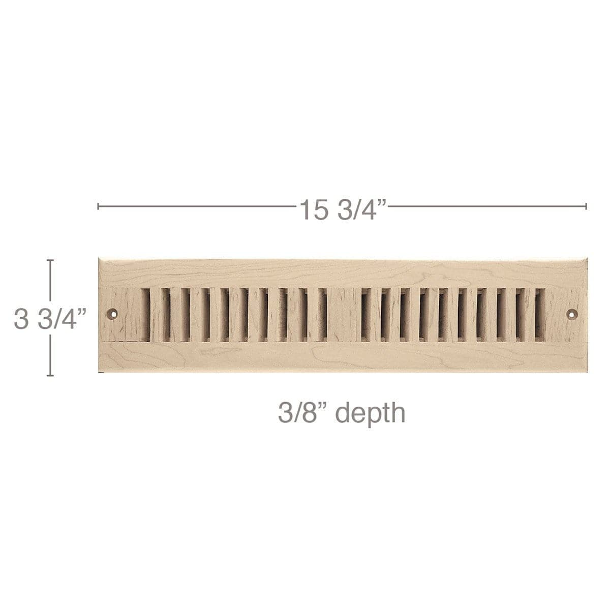 "2 x 14 Vent, 3 3/4"" x 3/8"" x 15 3/4"" length, Self Rimming Toe Kick Vent"