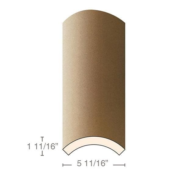 "MDF Radius Corners, Econo Qtr Rnd (accepts 3/4"" plywood), 5 11/16""w x 1 11/16""h x 97""L"