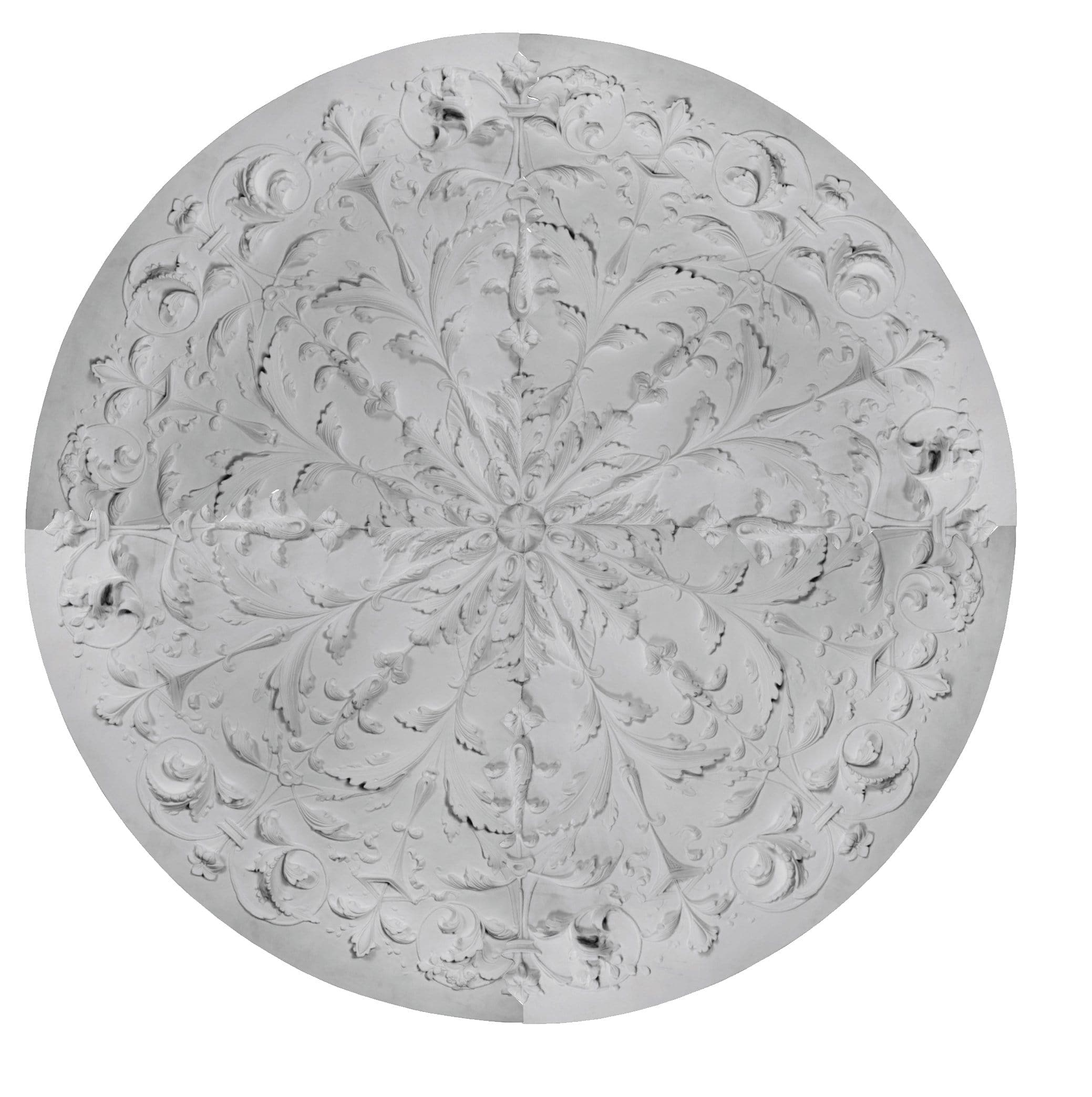 "Italian Medallion, Plaster, 66""w x 66""h x 2""d, MADE TO ORDER, NOT RETURNABLE, Sold as 4 pieces. , MINIMUM ORDER AMOUNT $200"