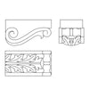 Custom Acanthus Modillion, per qty 2, 1 1/2'' x 1 5/8'' x 2 7/8''
