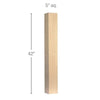 "Contemporary Straight Square Bar Column, 5""sq. x 42""h"
