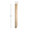 "Shaker Tapered Square Island Column, 3""sq. x 36""h"