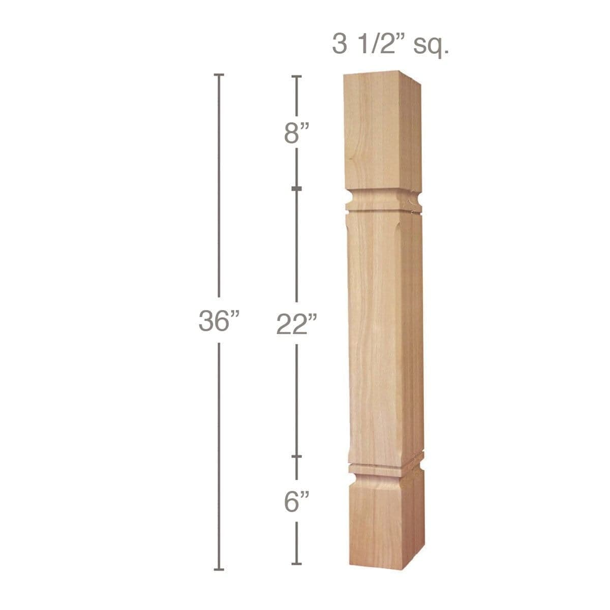 "Mission Chamfered Corner Island Column, 3 1/2""sq. x 36""h"